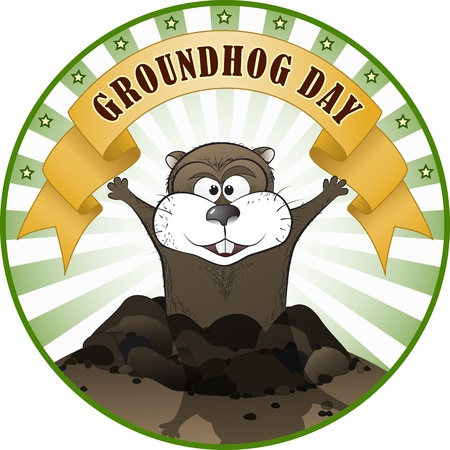 11860495 - vector illustration of a cute groundhog popping out of a hole.
